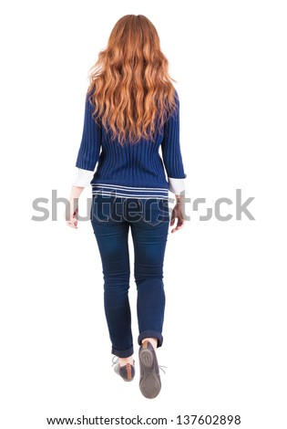 back view of walking  woman. beautiful redhead girl in motion.  backside view of person.  Rear view people collection. Isolated over white background. girl student comes forward - stock photo