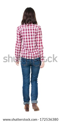 back view of walking  woman in checkered shirt. beautiful brunette girl in motion.  backside view of person.  Rear view people collection. Isolated over white background. - stock photo