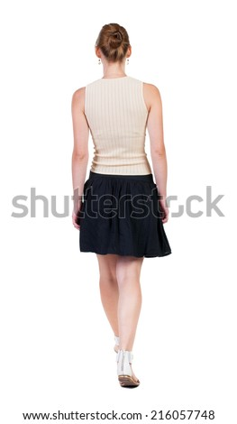 back view of walking  woman in dress. beautiful blonde girl in motion.  backside view of person.  Rear view people collection. Isolated over white background. - stock photo