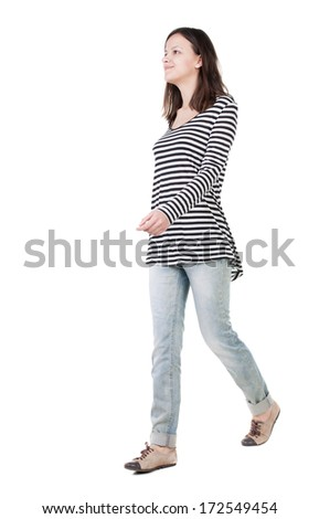 back view of walking  woman in frock. beautiful brunette girl in motion.  backside view of person.  Rear view people collection. Isolated over white background. - stock photo