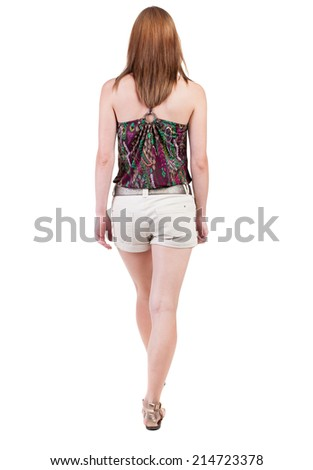 back view of walking  woman in shorts. beautiful blonde girl in motion.  backside view of person.  Rear view people collection. Isolated over white background. - stock photo