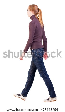 back view of walking  woman  in  sweater . beautiful blonde girl in motion.  backside view of person.  Rear view people collection. Isolated over white background. long-haired blonde sad sigh moves