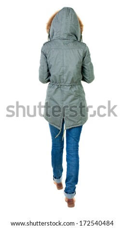 back view of walking  woman in winter jacket with hood. beautiful brunette girl in motion.  backside view of person.  Rear view people collection. Isolated over white background. - stock photo