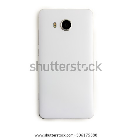 back view of white smart phone on white background - stock photo