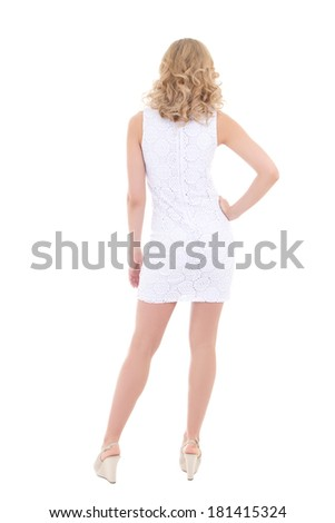 back view of woman in white dress isolated on white background - stock photo