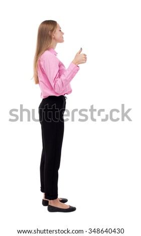 Back view of  woman thumbs up. Rear view people collection. backside view of person. Isolated over white background. She is a cancer and raised thumbs up approving. - stock photo