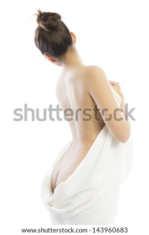 Back view of Woman wearing towel isolated on white background,  Beautiful young woman prepare her body for shower, spa or massage