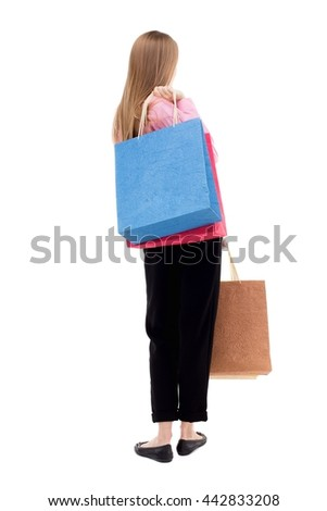 back view of woman with shopping bags . beautiful brunette girl in motion.  backside view of person. Isolated over white background. The girl in the pink shirt is throwing shoulder bag with purchases. - stock photo