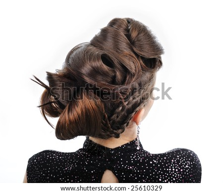 Back view of  woman with style hairstyle - stock photo