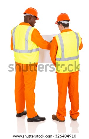 back view of workers discussing future plan - stock photo