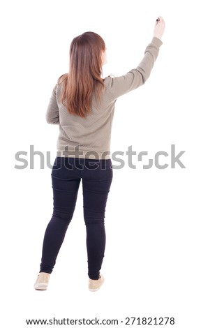 back view of writing beautiful woman. Young girl in jeans draws. Rear view people collection.  backside view of person. Isolated over white background. - stock photo