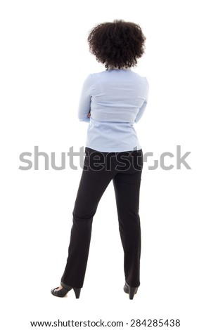 back view of young african american business woman posing isolated on white background - stock photo