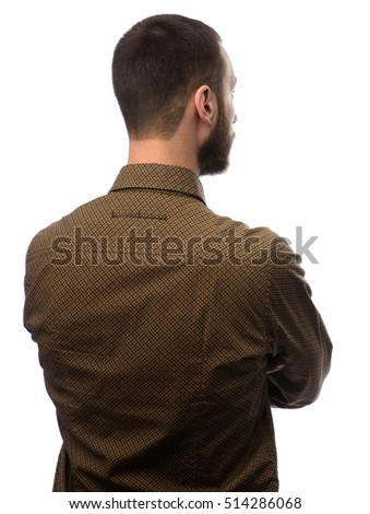 back view of young bearded businessman over white background