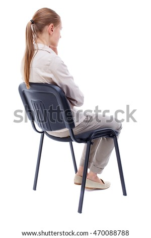 person sitting in chair back view png. Back View Of Young Beautiful Woman Sitting On Chair. Girl Watching. Rear People Person In Chair Png T