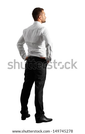 back view of young businessman over white background - stock photo