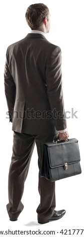 Back view of young businessman standing with briefcase isolated on white background - stock photo