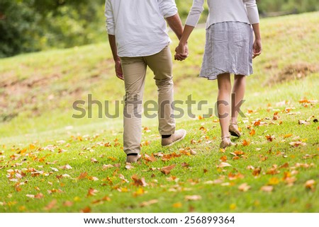 back view of young couple holding hands walking in park - stock photo