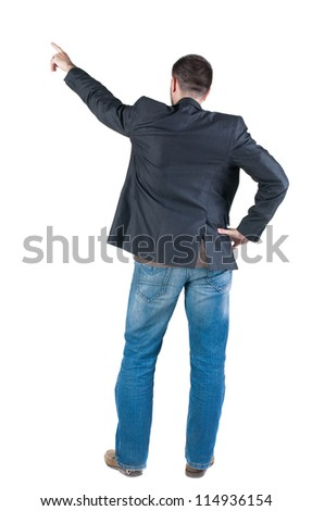 back view of young expert looks ahead. Rear view people collection.  backside view of person.  Isolated over white background. - stock photo
