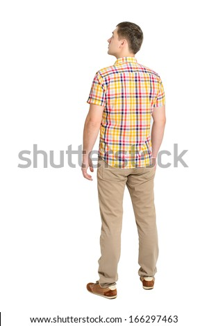 Back view of young man in a plaid shirt and jeans looking. Standing young guy. Rear view people collection. backside view of person. Isolated over white background.