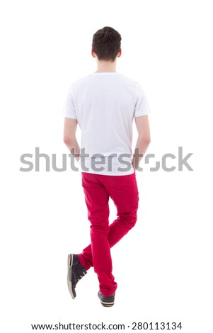 back view of young man standing isolated on white background - stock photo