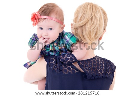 back view of young mother with baby isolated on white background