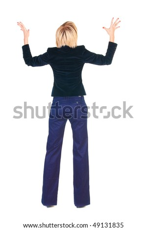 Back view of young shocked blonde business woman. Rear view . Isolated over white. - stock photo