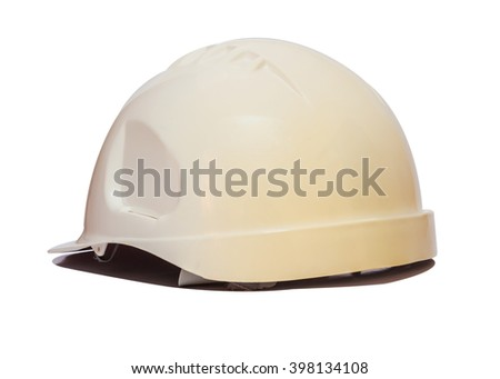 back view Old Safety Engineer Helmet ,Isolated with White background - stock photo