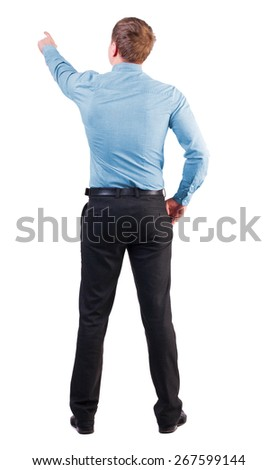 Back view pointing young business men in  red shirt. Rear view people collection.  backside view person. Isolated over white background. businessman with sports figure demanded indicates something  - stock photo
