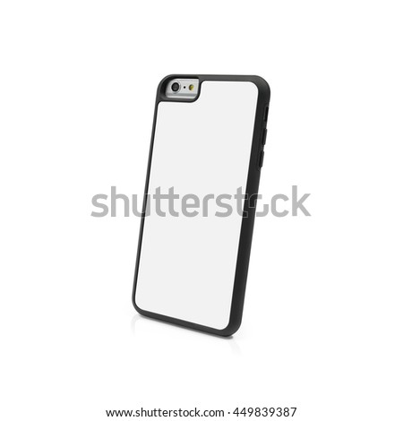 Back view smartphone case on white background with clipping path. Blank mobile mockup for design.