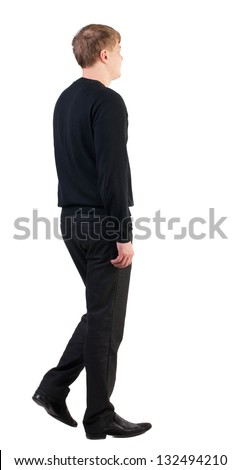 back view walking  business man. doomed man goes to work.stylishly dressed in formal wear young man. Isolated over white background. Rear view people collection.  backside view of person. - stock photo