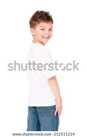 Back white T-shirt on a boy, isolated on white background - stock photo