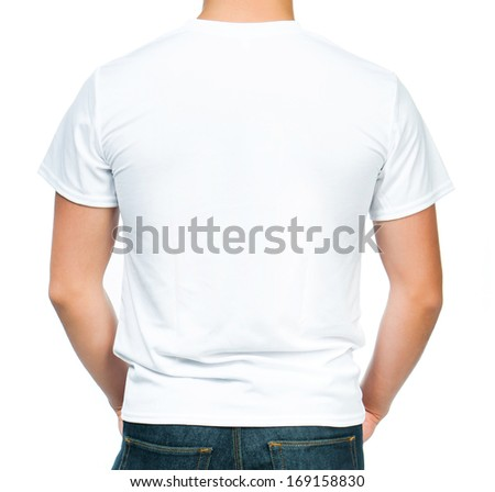 Back white t-shirt on a young man isolated on whitÃ?Â?? background