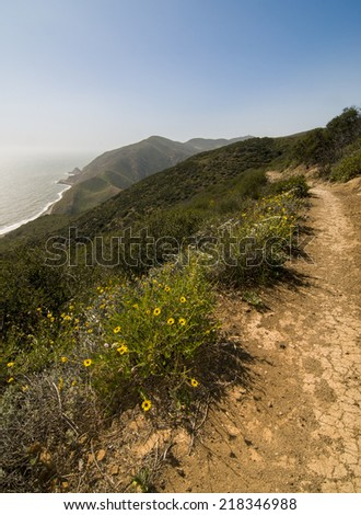 Backbone Trail along Pacific Coast Highway, California - stock photo
