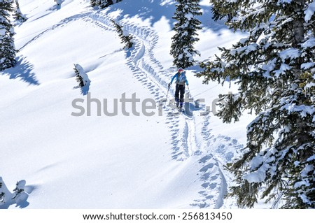 Backcountry skier ascending a peak on the uptrack