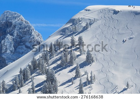 Backcountry Skiing In Wyoming - stock photo