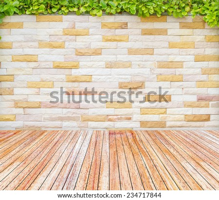 Backdrop brick wall and wood slabs arranged in perspective texture background. - stock photo