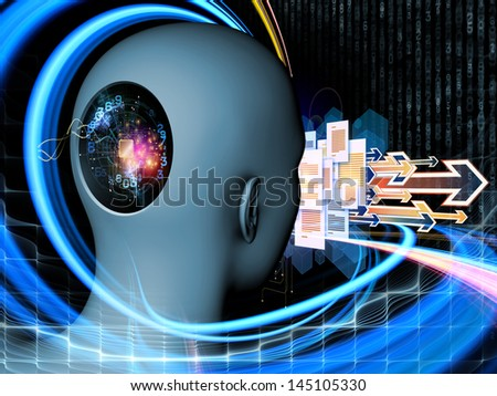 Backdrop composed of cutout of male head and symbolic elements and suitable for use in the projects on human mind, consciousness, imagination, science and creativity - stock photo