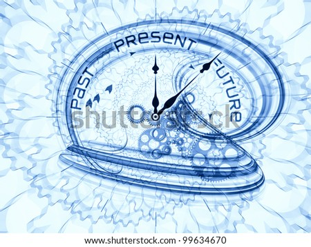Backdrop composed of gears, clock elements, dials and dynamic swirly lines and suitable for use on scheduling, temporal and time related processes, deadlines, progress, past, present and future - stock photo
