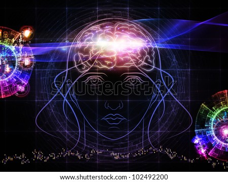 Backdrop composed of head outlines, lights and abstract design elements and suitable for use on intelligence,  consciousness, logical thinking, mental processes and brain power - stock photo