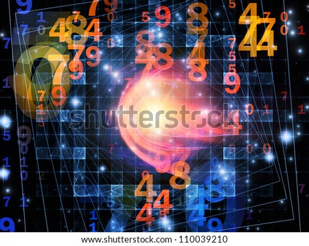 Backdrop composed of numbers and abstract design elements and suitable for use in the projects on modern computing, virtual reality and digital processing