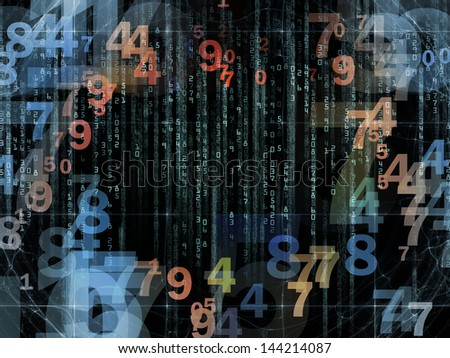 Backdrop composed of numbers and design elements and suitable for use in the projects on computers, science, math and modern technology