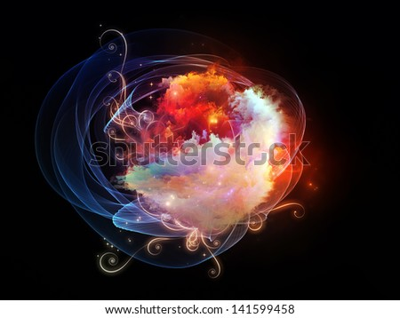 Backdrop design of decorative shapes and fractal elements to provide supporting composition for works on design, imagination and creativity - stock photo
