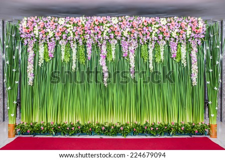 backdrop flowers arrangement for wedding ceremony - stock photo