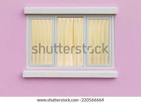 Backdrop for elegant pane white, pink walls. And yellow curtains - stock photo