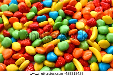 Backdrop from Multicolored Sweet Candy, close up - stock photo