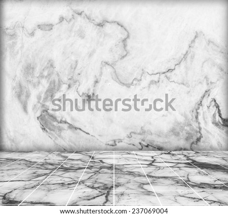 Backdrop marble wall and  slabs arranged in perspective texture background in black and white. - stock photo