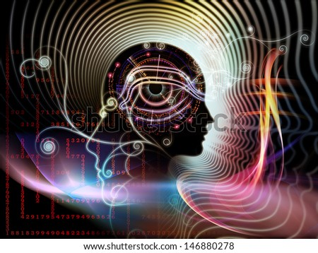 Backdrop of human feature lines and symbolic elements on the subject of human mind, consciousness, imagination, science and creativity - stock photo