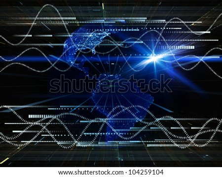 Backdrop of lights, numbers, grids and satellite imagery (courtesy of NASA) on the subject of science, global computing and communication technologies - stock photo