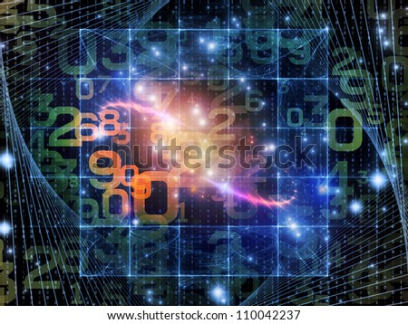 Backdrop of numbers and abstract design elements on the subject of modern computing, virtual reality and digital processing
