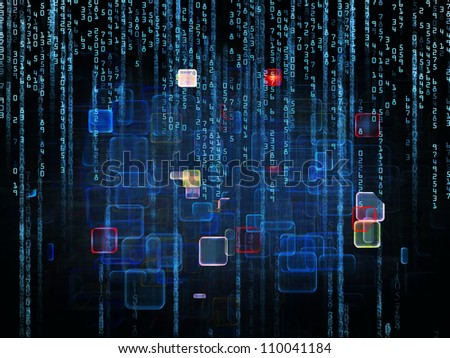 Backdrop of numbers and design elements on the subject of computers, science, math and modern technology - stock photo